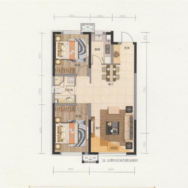 89平2室2厅1卫U+D户型