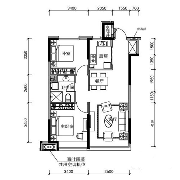 90㎡2室2厅1卫