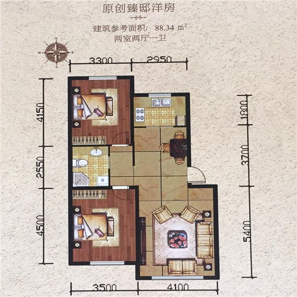 简约两居,玄关通透南北,独立入户私密设计,保证空间格局.曹县装修设计师图片