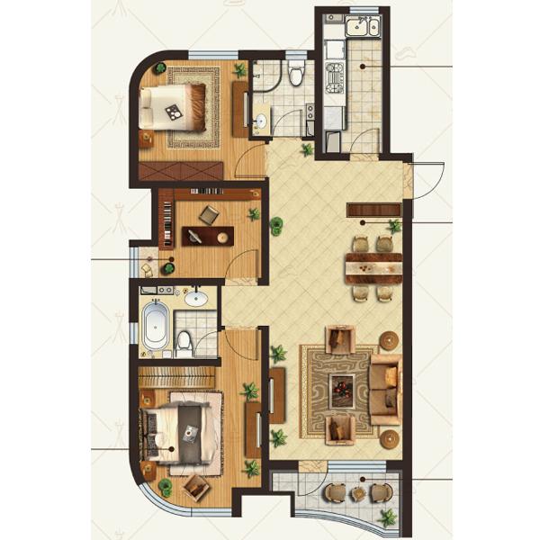 金地·棕榈岛高层120平三室两厅两卫
