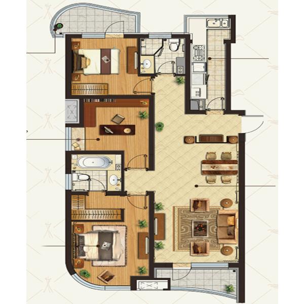 金地·棕榈岛高层152平三室两厅两卫
