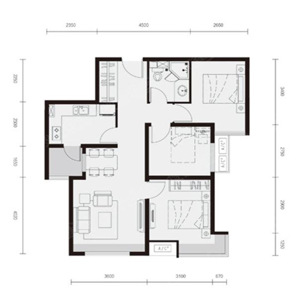 80平3室2厅1卫E户型