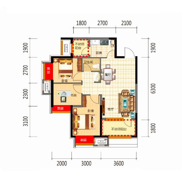 89平3室2厅1卫B2户型