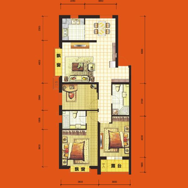 高层111平3室2厅1卫H4户型
