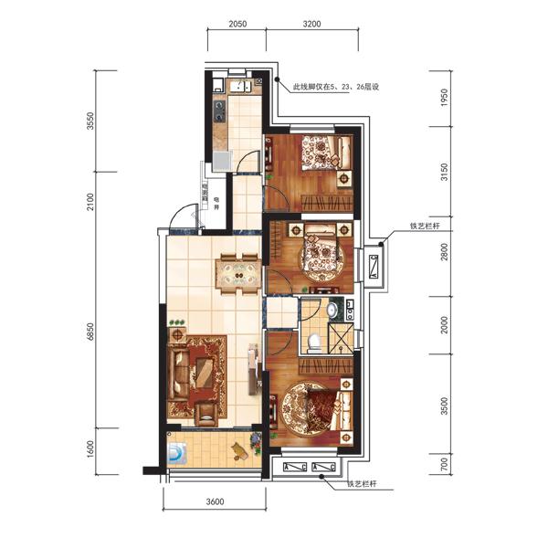101平3室2厅1卫户型