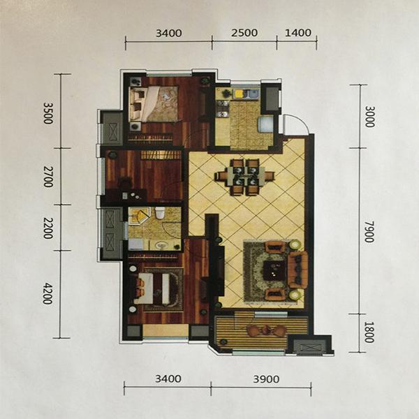 金地艺境高层111平三室两厅一卫