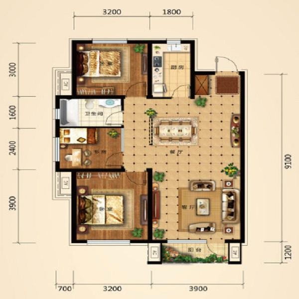 98平3室2厅1卫