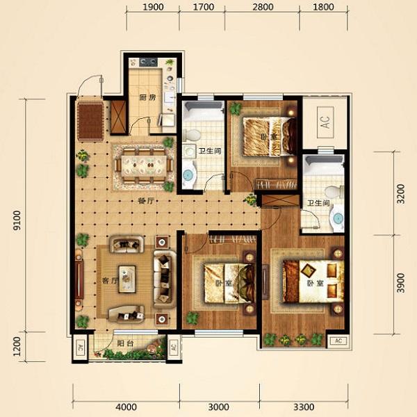 119平3室2厅2卫