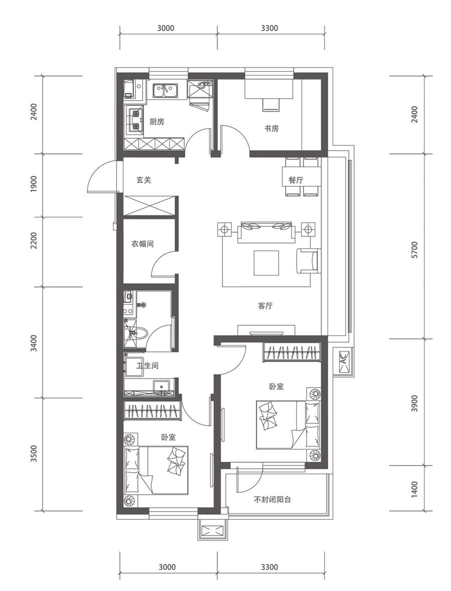 110平3室2厅1卫E户型