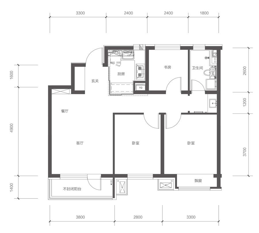 95平3室2厅1卫B户型
