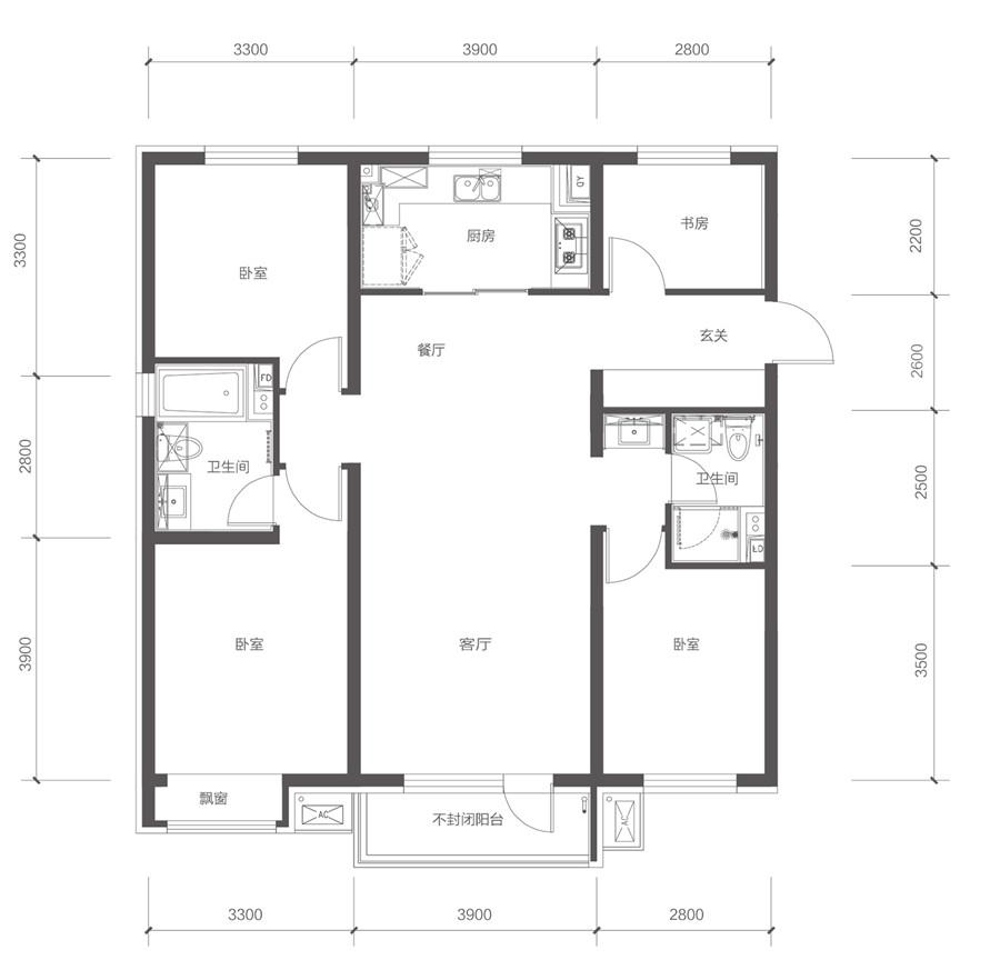 128平4室2厅2卫A户型