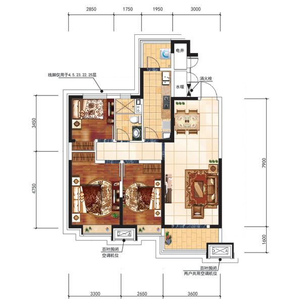 115.77平3室2厅1卫户型
