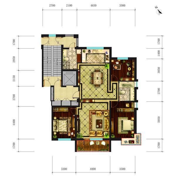华府丹郡·悦湖高层B6#151平三室两厅两卫户型