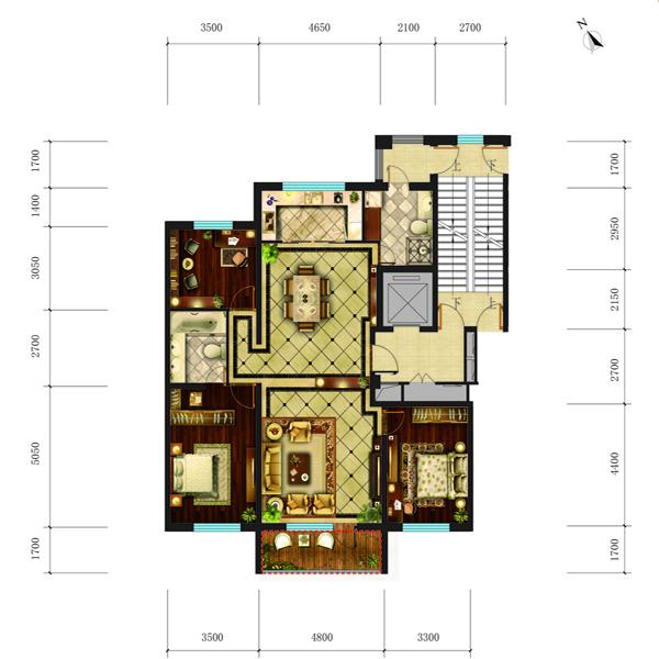 高层150平3室2厅2卫B户型