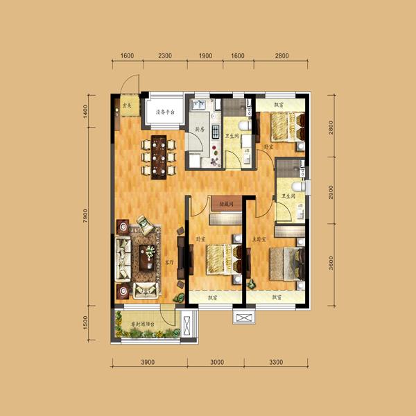 117平3室2厅2卫户型