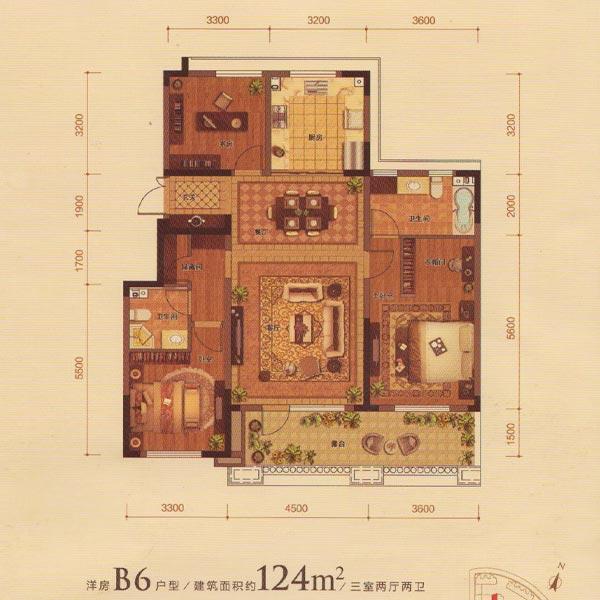 金地名悦124平3室2厅2卫B6户型