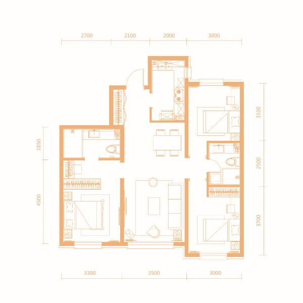 107平3室2厅2卫户型