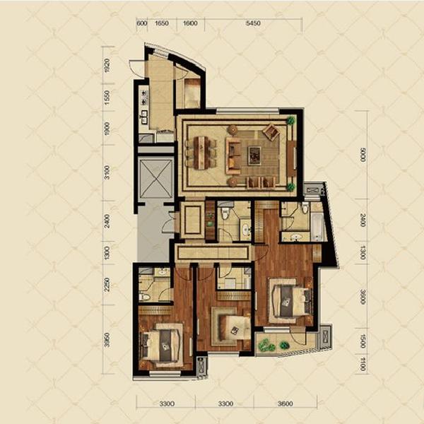 180平3室2厅3卫B户型