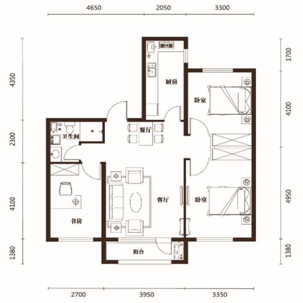 107平3室2厅1卫G户型