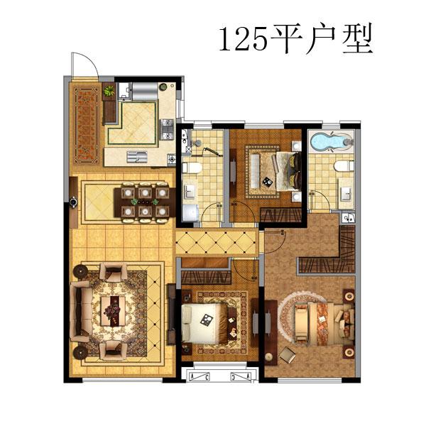 125㎡3室2厅1卫