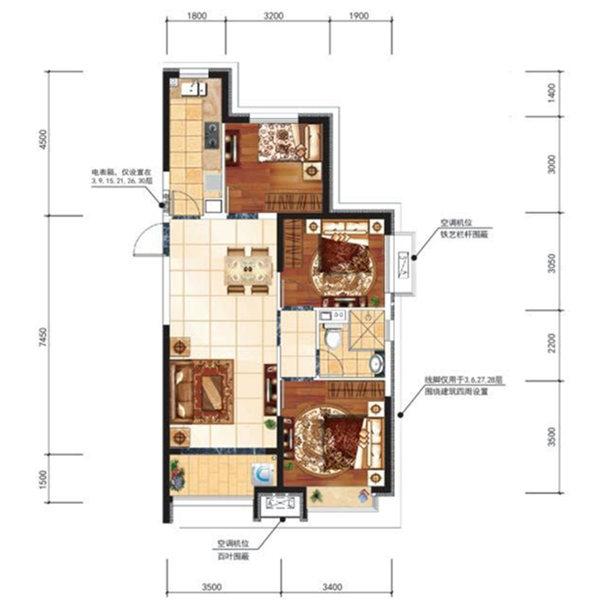 100.19平3室2厅1卫户型