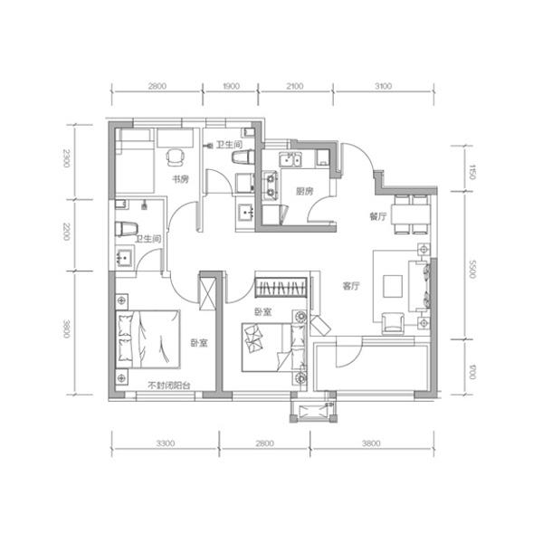 95平3室2厅2卫U+B´户型