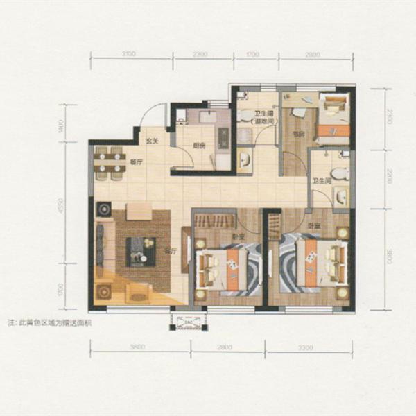 91平3室2厅2卫B户型