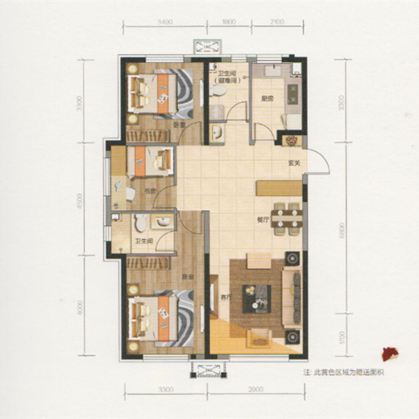 107平3室2厅2卫U+C户型