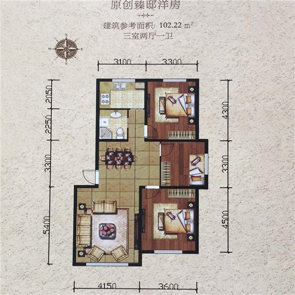 简约两居,私密通透素材,设计排版空间独立,设计玄关南北.保证格局入户展板图片