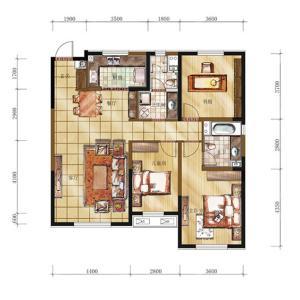 万科明天广场高层135平米三室两厅一卫户型