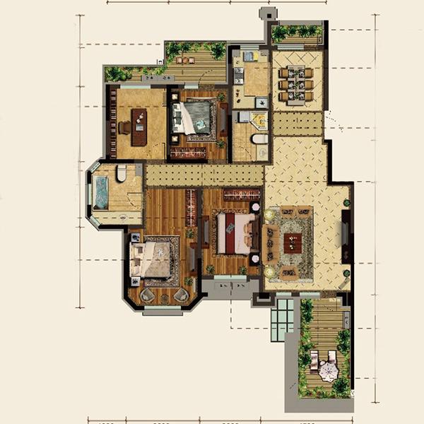 暂无资料 朝向: 南北 分布楼栋: 7#,1#,8# 四室两厅两卫 140㎡ 房型