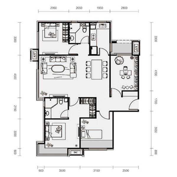 135平4室2厅2卫C户型