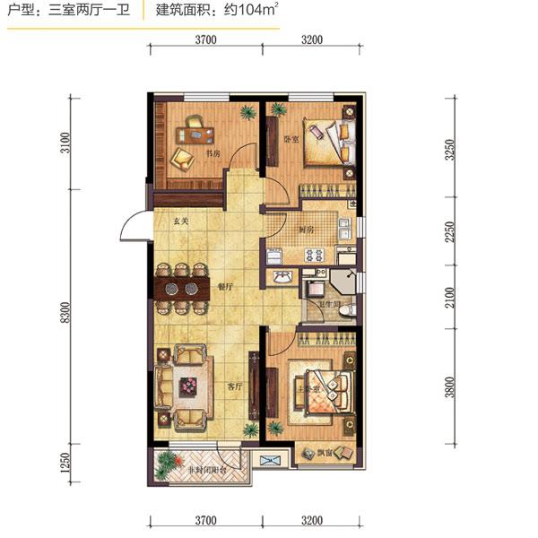 104平3室2厅1卫【幸福之光】户型