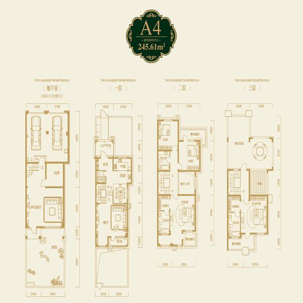 奥园国际城4室4厅4卫建筑面积约为246㎡