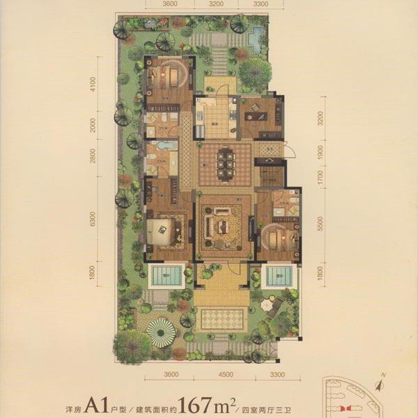 167平4室2厅3卫A1户型