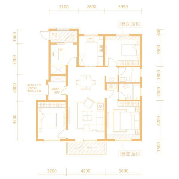 130平4室2厅2卫香悦户型