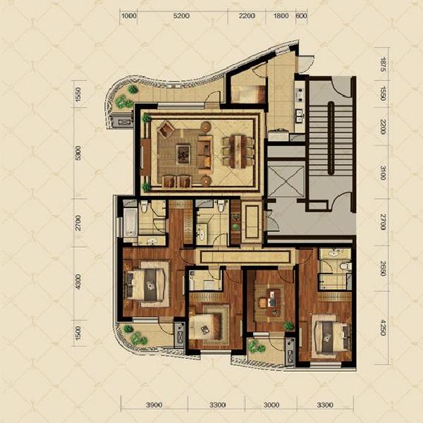 高层四室两厅三卫一厨A户型208平
