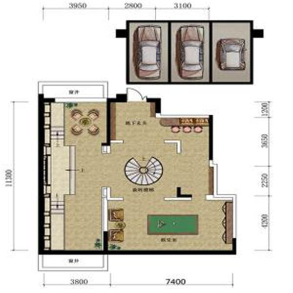 三叠院130平户型负一层