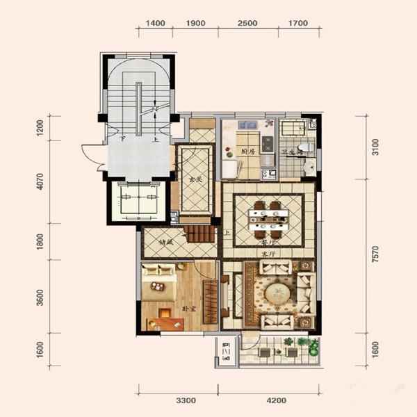浑南区 碧桂园公园印象  130平4室2厅2卫1厨 叠院140㎡户型, 联排别墅