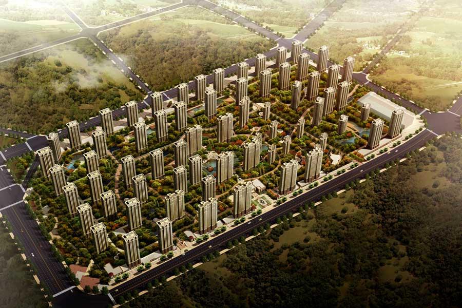 华府丹郡·悦湖鸟瞰图
