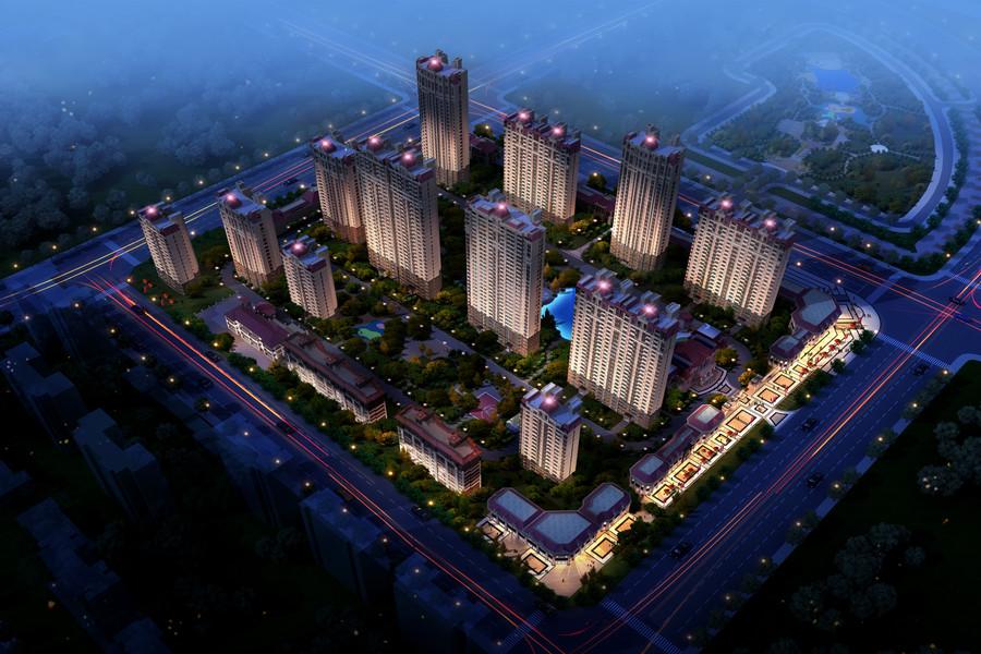 恒大盛京印象夜景鸟瞰图
