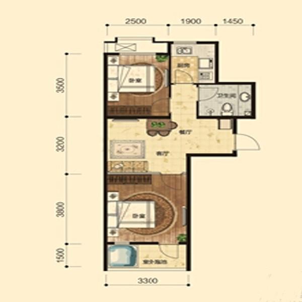 63㎡2室2厅1卫
