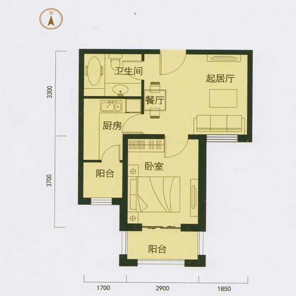53㎡1室1厅1卫