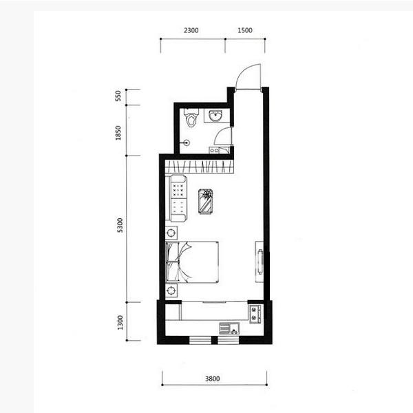 宏发·英里42.6平1室1厅1卫E户型