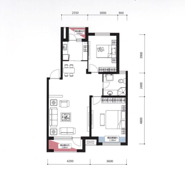 宏发·英里84.6平2室2厅1卫C户型