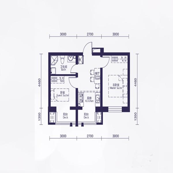 和泰馨城51平2室1厅1卫A5