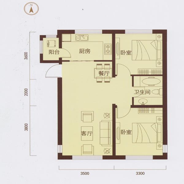 84㎡2室2厅1卫