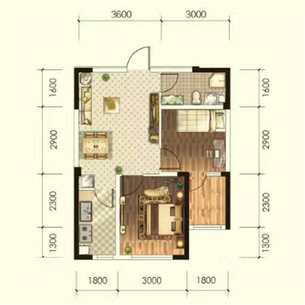 华海·蓝境高层68.25平2室1厅1卫G4A户型