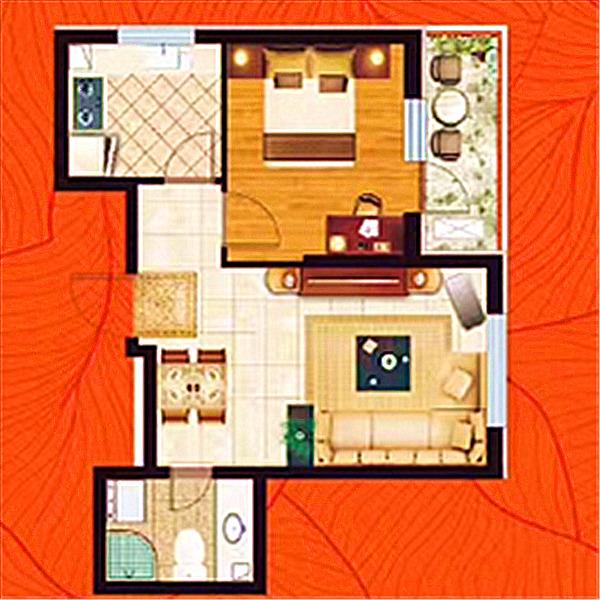 华府丹郡·悦湖高层B14#56平一室一厅一卫A户型