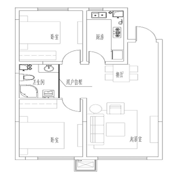 亚泰城高层87平2室2厅1卫户型